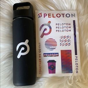 Peloton glass water bottle & sticker set